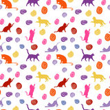 Cats and balls. seamless baby background with colour cats and balls. Stock Image