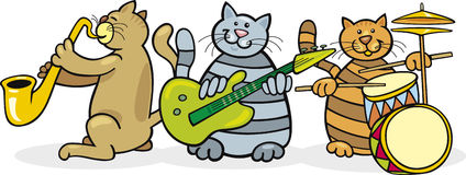 Cats band. Cartoon  illustration of three cats band Stock Image