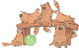 Cats on a bench. Cartoon. The company of red striped cats on a wooden bench Stock Images
