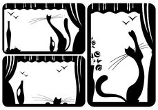 Cats and birds. Illustration with black and white cat's silhouettes Royalty Free Stock Photo