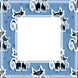Cats blue border Royalty Free Stock Photography