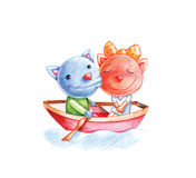 Cats on boat Royalty Free Stock Images