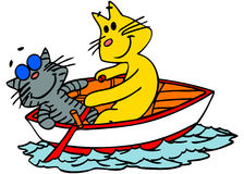 Cats on a boat. Vector illustration of two cats in a boat Stock Images