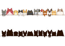 Cats border set with silhouette Stock Image