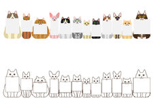 Cats border set, with small blank card Stock Images