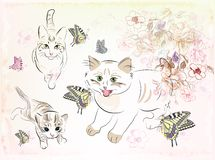 Cats and butterflies stock illustration