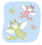 Cats and butterflies fly in the sky vector illustration