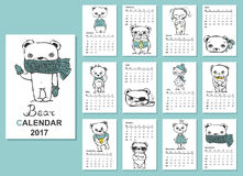 Cats calendar 2017. Calendar 2017. Cute bears for every month. Vector. Isolated Stock Images
