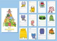 Cats calendar 2017. Calendar 2017. Cute cats for every month. Vector Stock Illustration
