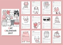 Cats calendar 2017. Calendar 2017. Cute cats for every month. Vector Stock Photo