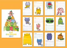 Cats calendar 2017. Calendar 2017. Cute cats for every month. Vector. Isolated Vector Illustration