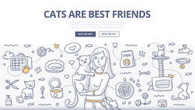 Cats Care Doodle Concept Royalty Free Stock Photography