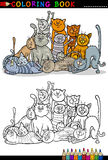Cats cartoon illustration for coloring book Stock Image