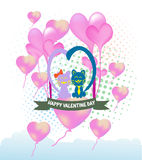 Cats cartoon Illustration of a Valentines Day Stock Images