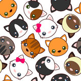 Cats. Cartoon vector seamless pattern, wallpaper. Stock Images
