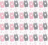 Cats. Cat seamless pattern. Pink and grey cats on white background. Vector illustration. Cats and hearts abstract Anniversary Holiday background. For Art, Print Stock Photos