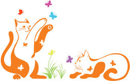 Cats catching butterflies Royalty Free Stock Photography