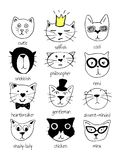 Cats characters set. Vector illustration of 12 super cute doodle cats with character labels stock illustration
