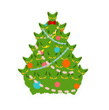 Cats Christmas tree. Spruce of pet. fir-tree from cat. New Year Stock Photos