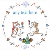 Cats Christmas. The vector picture. EPS 8 Royalty Free Stock Images