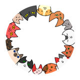 Cats circle with copy space Royalty Free Stock Photos