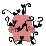 Cats on coach. Few of cats sitting on the coach illustrations concept isolated royalty free illustration