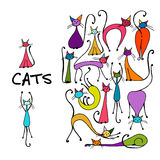 Cats collection, sketch for your design Stock Image