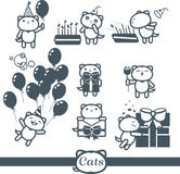 Cats color icons: happy birthday Royalty Free Stock Photography