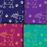 Cats color pattern. Cats and paws color pattern Royalty Free Stock Photo