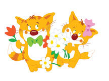 Cats_couple_with_flowers. Funny cats couple with flowers Vector Illustration