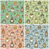 Cats and Critters. Cute cats and critters seamless pattern in four colorways. Font used is my own creation. Repeat size is 8 Stock Photo