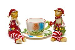 Cats and cup of tea Royalty Free Stock Image