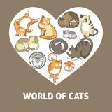 Cats and cute kittens pets playing or posing vector flat heart poster. Cute cartoon cats and kittens playing on heart poster. Vector sleeping or posing cats with Royalty Free Stock Photo