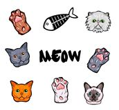 Cats design elements set. Kitty face, paws. fish skeleton vector illustration  on white background. Objects Royalty Free Stock Image