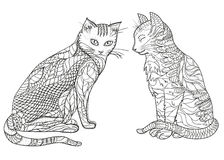 Cats. Design Zentangle. Royalty Free Stock Image