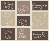 Cats and dogs. Royalty Free Stock Photo