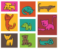 Cats and dogs. Royalty Free Stock Photos