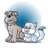 Cats and Dogs. Illustration of two animals Royalty Free Stock Photo