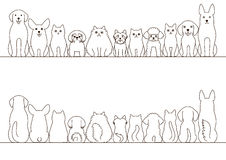 Cats and dogs border set vector illustration