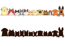 Cats and dogs border set with silhouette Stock Photo
