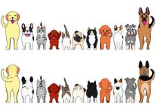 Cats and dogs border set. Various Cats and dogs border set, from front view and rear view royalty free illustration