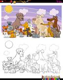 Cats and dogs characters coloring book. Cartoon Illustration of Cats and Dogs Animal Characters Group Coloring Book Activity Royalty Free Stock Photos