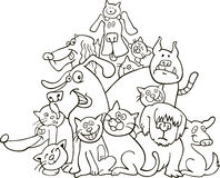Cats and dogs for coloring Royalty Free Stock Photography