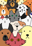 Cats and dogs face collection Stock Image