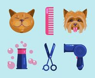 Cats and dogs grooming. Pet Grooming Icons vector illustration