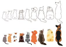Cats and dogs looking up sideways in a row. Set of with colors and monochrome line art vector illustration