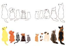 Cats and dogs looking up sideways in two rows. Set of with colors and monochrome line art vector illustration