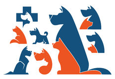 Cats and dogs. My favorite pet, vector collection of animals symbols stock illustration