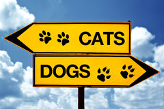 Cats or dogs, opposite signs. Two opposite signs against blue sky background stock images