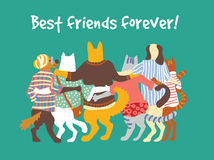 Cats and dogs pets group animal friends friendship hugs. Royalty Free Stock Image